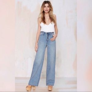 Nasty Gal High Waist Wide Button fly Denim Jeans